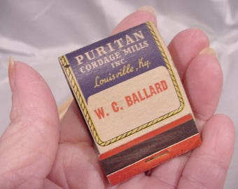 Vintage Match Book Cover Puritan Cordage Mills Inc, Louisville Ky.
