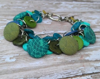 Boho Chic Button Bracelet Aqua Blue Green Teal Charm Jewelry Bohemian New Age Gifts for Her Mom Quilters Birthday Mother's Day BGJB73