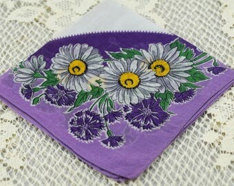 Beautiful Vintage Hankie Purple, Lavender and White #A23