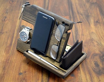 Anniversary Gift, for Men, Wood organizer, Docking station, Desk organizer, Phone holder, Wooden phone stand, Gift for him, man gift,