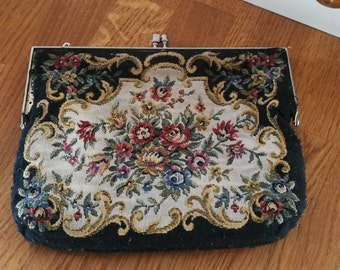 Vintage Embroidery bag or purse, black and floral.