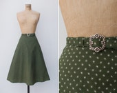 1970s Skirt - Vintage 70s Green White Cotton A Line Skirt - Campagne Skirt