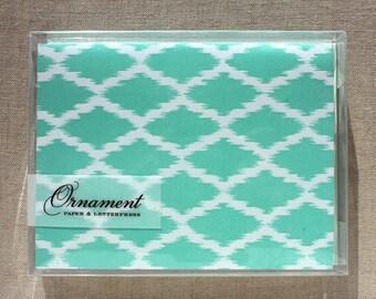 Green Ikat Letterpress Card Set