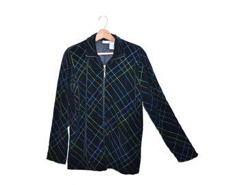 Vintage Velour Jacket Black Velour Jacket Black Velvet Jacket 80s Koret Jacket Size Medium