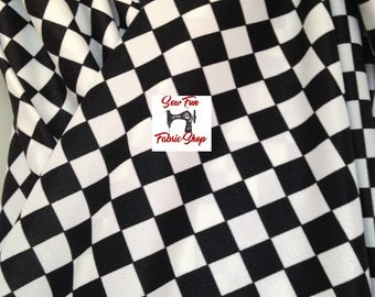Black and White Stripes or Checks Spandex Lycra Stretch Fabric.great for costumes, dance, theater, pageant.