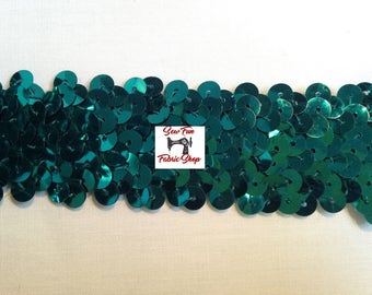 1 Inch Stretch SequinTrim, Teal Green.  3 yards.  Great for costumes, dance, theater, pageant.