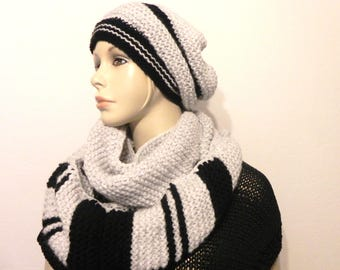 scarf collar snood more Beanie beret knitted hand mohair and wool black woman and teen fashion accessories