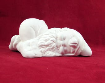 Ceramic Ready to Paint  Lying Down Gnome - 8 inches,  lawn or garden gnome, outdoor or indoor