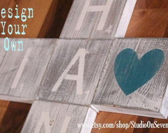 Stained Scrabble Wood Wall Blocks - Distressed Wood Letter Signs - Letter Wall Signs-3x3- 5x5 - 7x7 - 9x9 - 11x11 - Custom Wall Decor