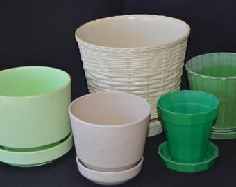 eb2055 FIVE vintage planters - see descriptions below from smallest to largest....