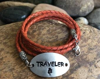 Traveler leather wrap bracelet, traveler jewelry, world traveller, graduation gifts, traveller, explore jewelry, orange