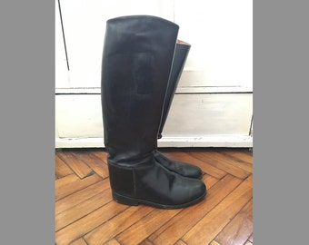 9/39 Vintage Equestrian Riding tall boots/ leather black/ made in Austria / ball S