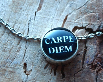 Carpe diem necklace pendant, Quote pendant ,Quote jewelry,motto pendant,Quote necklace,Gift for her,Glass dome necklace,Black and white