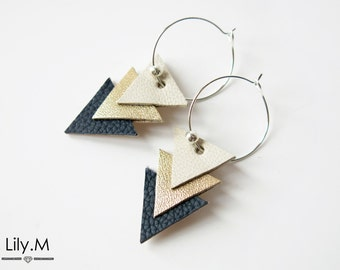 Earrings, Triangle Leather, Blue and Gold EVA