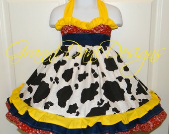 Jessie toy story halter twirl dress ruffle baby toddler girl 6 12 18 24 months 2t 3t 4t 5t 6 7 8 yellow cow cow girl farm bandanna