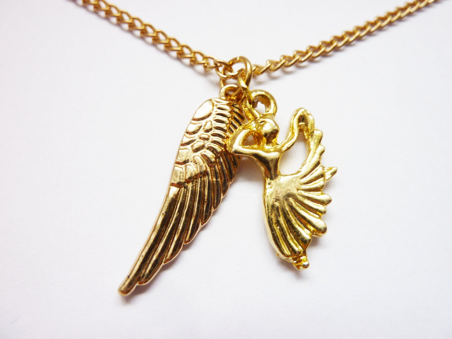 wing necklace wings ballerina golden necklace
