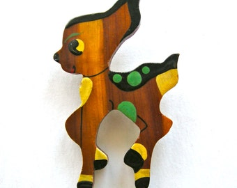 Wood Deer Pin Vintage  brightly hand enameled  with celluloid C clasp closure  1940s