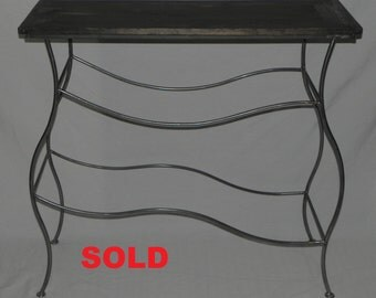 Iron Console Table with Distressed Wood Top