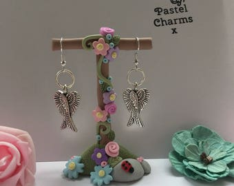 Angel wings earrings , with gift box  x