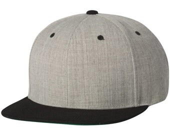 Black and Heather Grey Yupoong Snapback Hat Flat Bill Cap