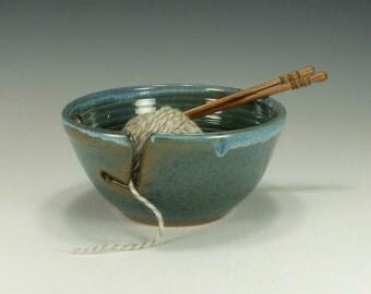 Large Yarn Bowl, blue/green, chunky yarn.  Knitting bowl.  Ready to ship.
