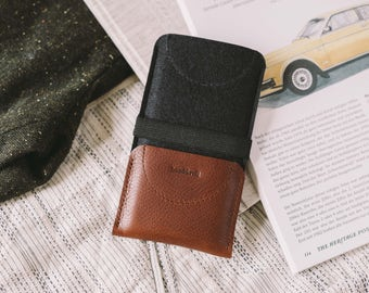 "iPhone SE Wallet, iPhone SE Sleeve, iPhone SE Case, leather, wool felt, ""Kangaroo"""