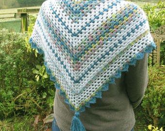 Crochet shawl or wrap. Hand crocheted with beaded edge and tassel. Beautiful gift.