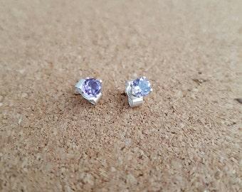 Sterling Silver Amethyst Stud Earrings Birthstone  Gemstone  Amethyst Amethyst jewelry