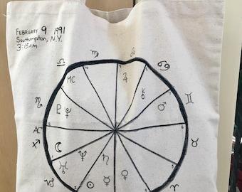 Birthchart Bag - Personalized, Birthchart, Astrology, Natal Chart, Zodiac, Horoscope, Astro Tote