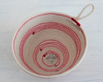 Cotton Rope bowl in hot pink & grey // bohemian planter // catchall basket