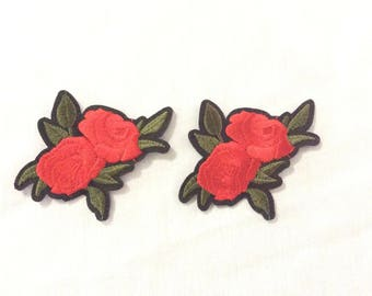 Rose Flower Embroidered Patch Appliqué (2), Iron On Patch, Flower Patch USA Seller
