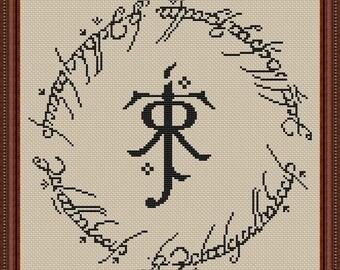 J. R. R. Tolkien logo cross stitch pattern Instant Download PDF