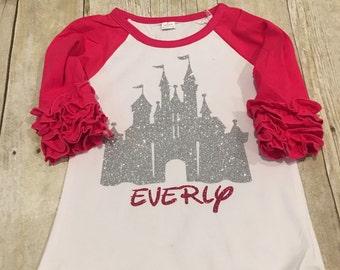 Disney castle ruffle raglan