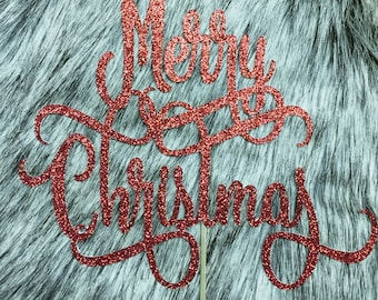 Merry Christmas Cake Topper in red glitter
