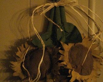 Primitive Sunflower Door Hanger