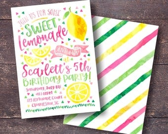Lemonade Birthday Invitation, Lemonade Invitation, Lemon Invitation, Pink Lemonade Invitation, Summer Birthday Invitation, Summer Invitation