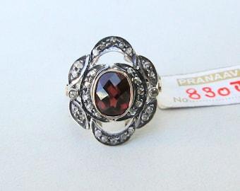 Victorian Diamond Garnet 14 K Gold Silver Finger Ring Rajasthan India