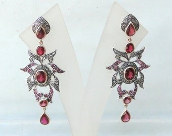 Victorian Diamond & Rubelite Gold Silver Earring Pair