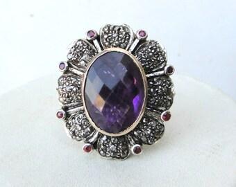 Victorian Diamond Amethyst Ruby 14k Gold Silver Ring