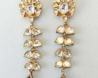 Vintage Antique Solid 20k Gold Diamond Polki Kundan Earring Pair Rajasthan India