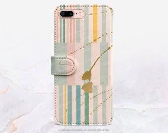 iPhone 7 Wallet Case iPhone 7 Plus Wallet Case Striped iPhone 7 Folio Case iPhone 7 Plus Folio Case iPhone Faux Leather Wallet Case FC5
