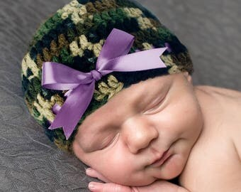 BABY GIRL CAMO,  Baby Camouflage, Camo Purple Ribbon, Baby Camo Clothes, Baby Girl Camouflage, Knit Camo, Camoflage Camo, Baby Camo Crochet