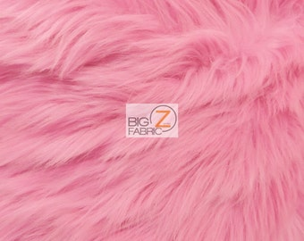 """Solid Shaggy Faux Fur Fabric - BUBBLE GUM - Sold By The Yard 60"""" Width Costumes Accessories Clothing"""