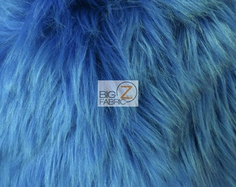 """Solid Shaggy Faux Fur Fabric - COBALT - Sold By The Yard 60"""" Width Costumes Accessories Clothing"""