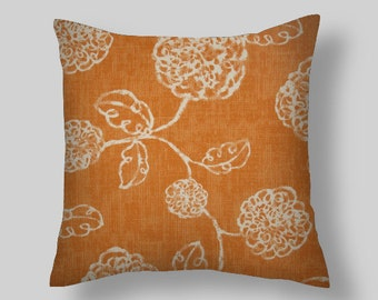 Orange  Pillows, Ivory  Pillow Cover ,Throw Pillows,Floral Decorative Pillows,Orange Pillow Covers All Sizes 18 x 18  20 Home Decor,