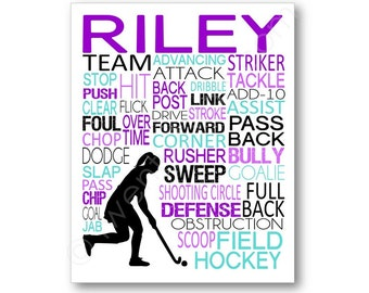 Field Hockey Typography Canvas or Art Print, Girl's Room Art, Choose Any Colors, Personalized for Field Hockey Player, Team or Coach