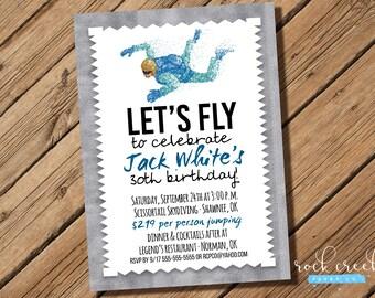 Skydiving Invitation, Parachuting invitation, Skydiver Birthday, Freefalling, Printable Invitation for Birthday Celebration