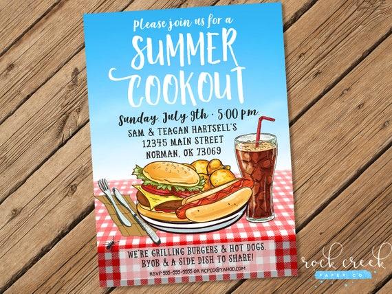 summer barbecue invitation summer cookout invitation backyard bbq