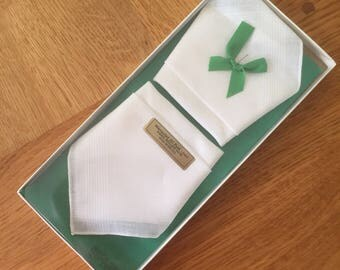 2 Vintage Boxed Pure Irish Linen Handkerchiefs with Hand Rolled Hem