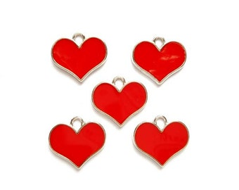 5 Red Enameled Heart Charms - 21-30-4